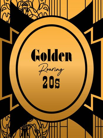 black and golden roaring 20s' invitation or greeting card template