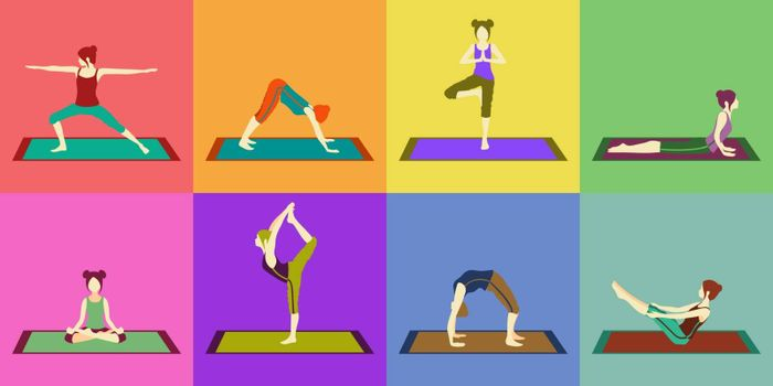 set or colorful pattern with eight faceless girls doing yoga asanas
