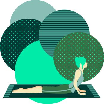 colorful illustration with cute faceless gril doing cobra asana on turquoise background