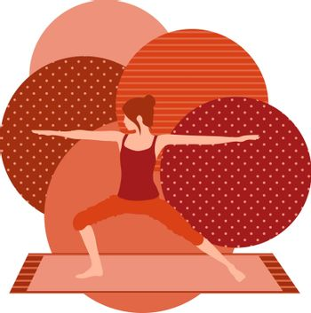colorful illustration with cute faceless gril doing warrior asana on red background