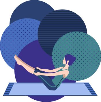 colorful illustration with cute faceless gril doing boat asana on blue and violet background