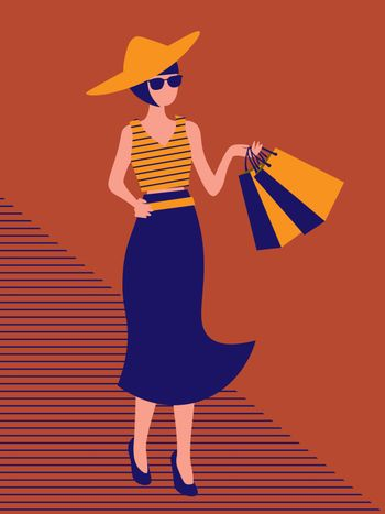 fashionable woman in wide hat walking with shopping bags on orange background