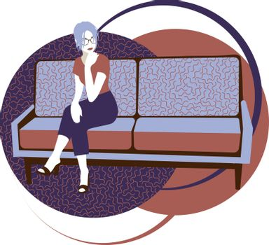 beautiful modern woman with lilac hair in glasses sitting on the sofa