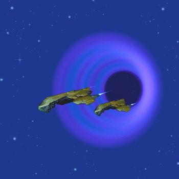 Two spacecraft come through a wormhole in space on their journey to a different galaxy in the universe.