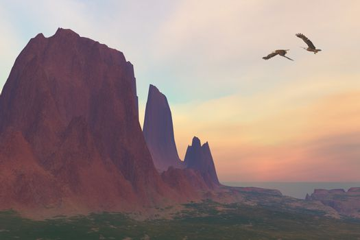 Two Bald Eagles fly near a desert mountain in the Southwest of the United States.
