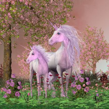 A white unicorn mare and her foal look towards a sound they heard in a forest full of cherry blossoms.