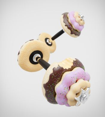 Dumbbell or barbell in the shape of donut on white background. Strawberry and chocolate flavours and have sprinkles on top of doughnut. Concept of diet and fitness for lose weight. 3D illustration.