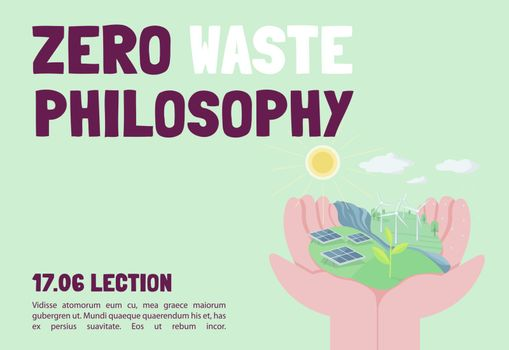 Zero waste philosophy banner flat vector template. Eco friendly lifestyle. Brochure, poster concept design with cartoon characters. Sustainable living horizontal flyer, leaflet with place for text