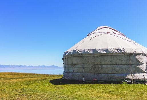 Yurt of the nomadic Kazakhs next to Sayram Lake, Xinjiang, China