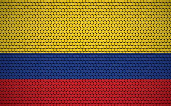 Abstract flag of Colombia made of circles. Colombian flag designed with colored dots giving it a modern and futuristic abstract look.