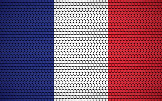 Abstract flag of France made of circles. French flag designed with colored dots giving it a modern and futuristic abstract look.