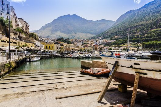 Old fishing port on the coast of Sicily Italy