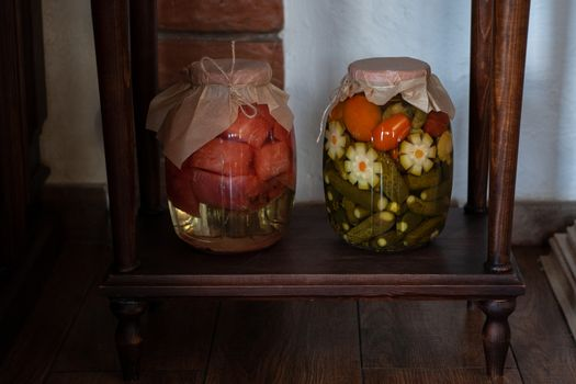 Pickled vegetables in the jars