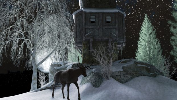 Deer near a winter cottage on the hill against a moonlight sky - 3d rendering