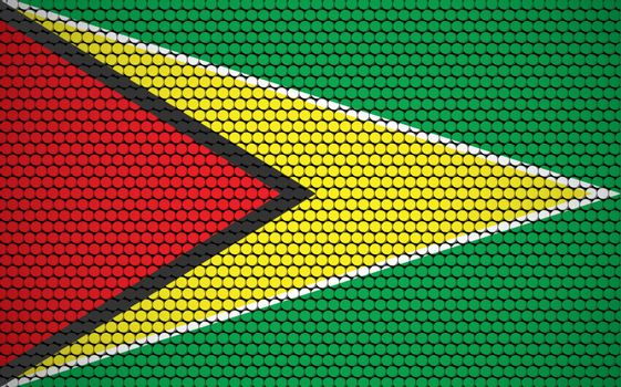 Abstract flag of Guyana made of circles. Guyanese flag designed with colored dots giving it a modern and futuristic abstract look.