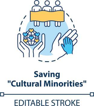 Saving cultural minorities concept icon