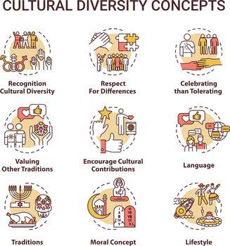 Cultural diversity concept icons set