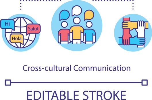 Cross cultural communication concept icon