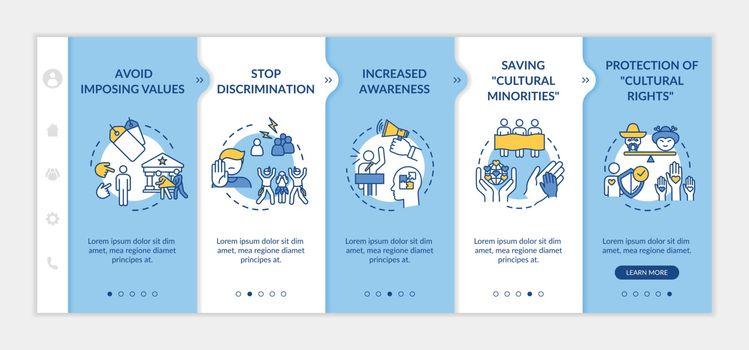 Stop discrimination onboarding vector template
