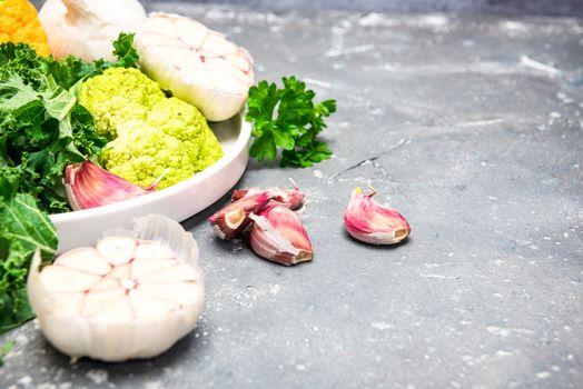 Raw Organic Market Fresh Vegetables. Healthy Clean eating Food Background.