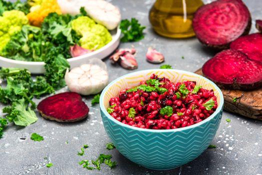 Vegeterian Plant Based Diet. Clean Eating. Buckwheat Groats with Beetroot. Green Food. Healthy Living.