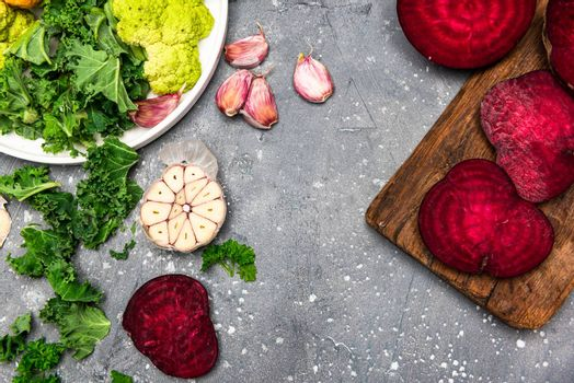 Clean Eating and Organic Vegetables Concept. Food Background. Flat Lay Top Down View.