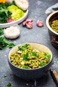 Vegeterian Plant Based Diet. Clean Eating. Buckwheat Groats with Kale. Green Food. Healthy Living.