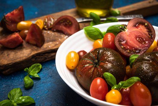 Vibrant Fresh Tomatoes and Basil. Fresh Farm Food Border Background.