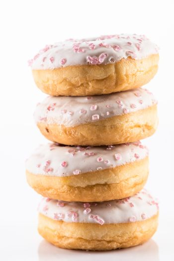 White Chocolate  Donut or Dougnut Tower on White Background.
