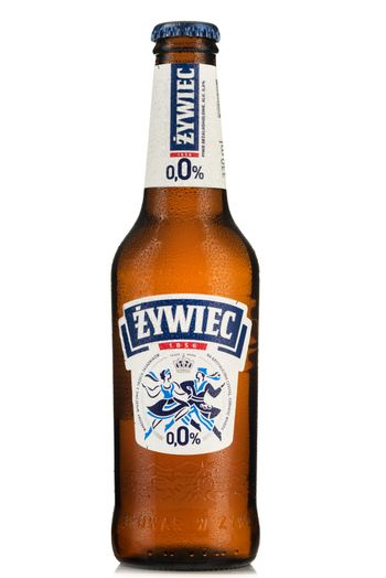 TARNOW, POLAND - FEBRUARY 01, 2020: Bottle of Cold Zywiec Non-Alcoholic Beer. Alcohol-Free Beers Are Increasingly Popular Among Drivers.