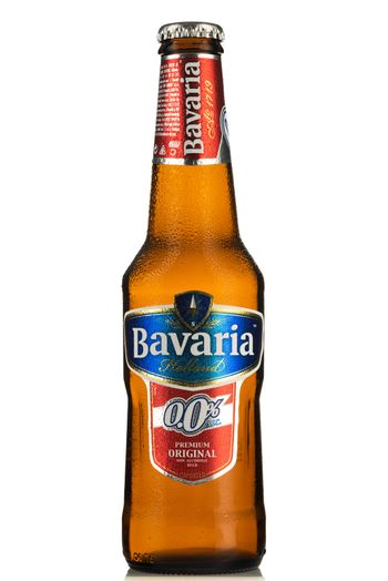 TARNOW, POLAND - FEBRUARY 01, 2020: Bottle of Cold Bavaria Non-Alcoholic Beer. Alcohol-Free Beers Are Increasingly Popular Among Drivers.