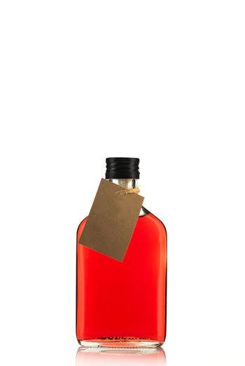 Bottle of Herbal Tincture or Alcohol Liqour Isolated on White Background with Empty Label.