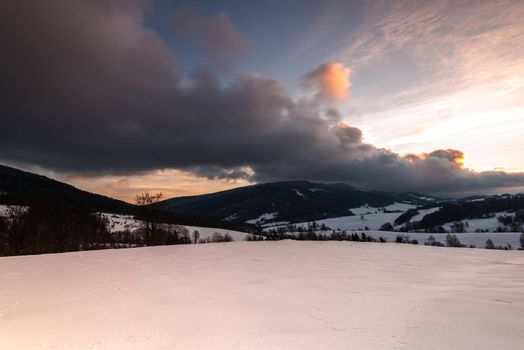 Sunrise at Bieszczady Mountains in Carpathia, Poland at Winter Season.