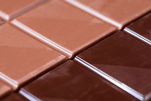 Chocolate Bar. Closeup Detail View. Top Down. Full Frame Background.