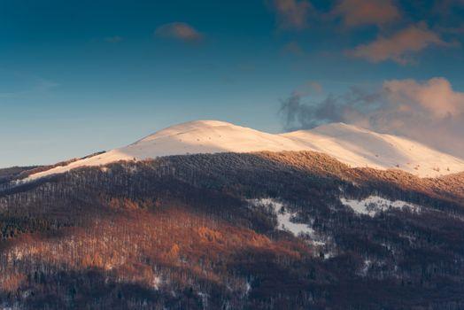 Polonyna Carynska and Wetlinska in Carpathian Mountains at Winter Season. Bieszczady, Poland .
