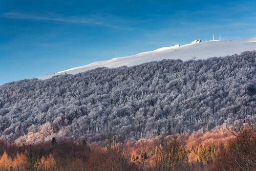 "Refuge, Wooden Shelter Hut "" Chatka Puchatka "" in Bieszczady Carpathian Mountains at Winter Season."