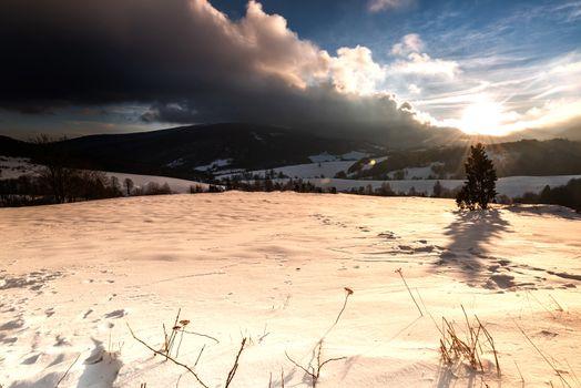 Beautiful Sunrise at Polonina in Bieszczady Mountains, Carpathia, Poland. Winter Season with Snow.
