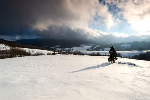 Winter Sunrise over Snow Covered Polonina in Bieszczady Mountains in Poland.