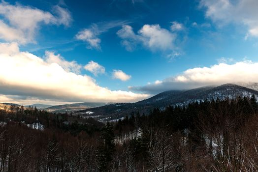 Panoramic View Over Bieszczady Mountains in Carpathia, POland at Winter Season.