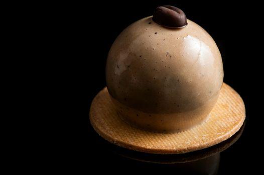 Artisan Monoportion Cake. Handmade Chocolate Dessert. Creative Patisserie. Black Background.