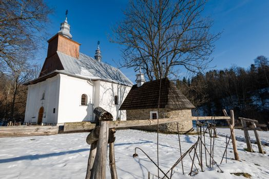 Exterior of Lopienka Orthodox Church.  Bieszczady Architecture in Winter. Carpathia Region in Poland.