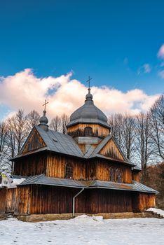St. Nicholas Orthodox Church in Chmiel. Carpathian Mountains and Bieszczady Architecture in Winter.