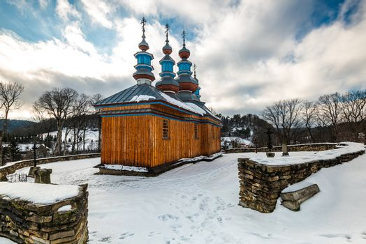 Komancza Wooden Orthodox Church. Carpathian Mountains Architecture. Bieszczady at Winter Season.