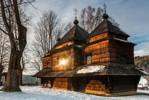 Smolnik Wooden Orthodox Church. Carpathian Mountains Architecture. Bieszczady at Winter Season.