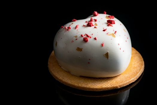 Artisan Monoportion Cake. Handmade White Chocolate Dessert. Black Background.