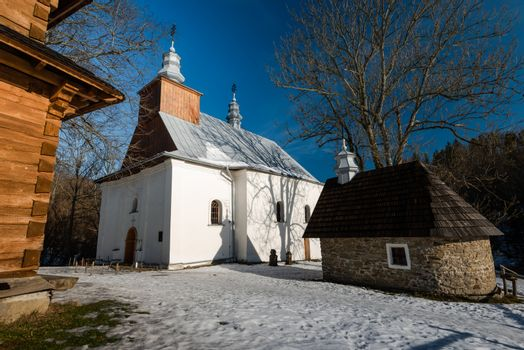Orthodox Church in Lopienka. Carpathian Mountains and Bieszczady Architecture in Winter.