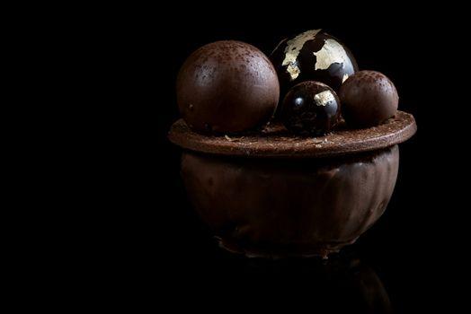 Artisan Monoportion Cake. Handmade Chocolate Dessert. Black Background.