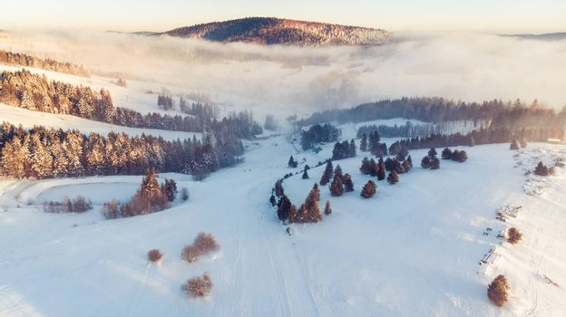 Aerial Panoramic View Over Valley in Winter Season. Slotwiny near Krynica in Poland.