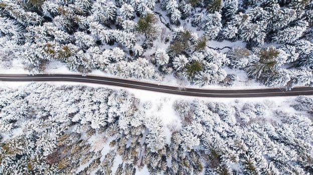 Road Trough Winter Wonderland, Top Down Drone View.