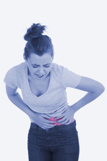 Woman with painful abdomen
